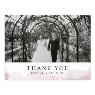 Debonair Blush Pink Wedding Thank You Postcard