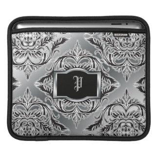 Debonair Damask Black, White, Silver iPad Sleeve