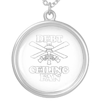 DEBT CEILING FAN Faded.png Round Pendant Necklace