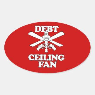 DEBT CEILING FAN OVAL STICKER