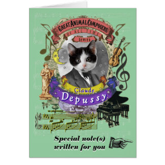 Debussy Parody Depussy Animal Composer Cat Card