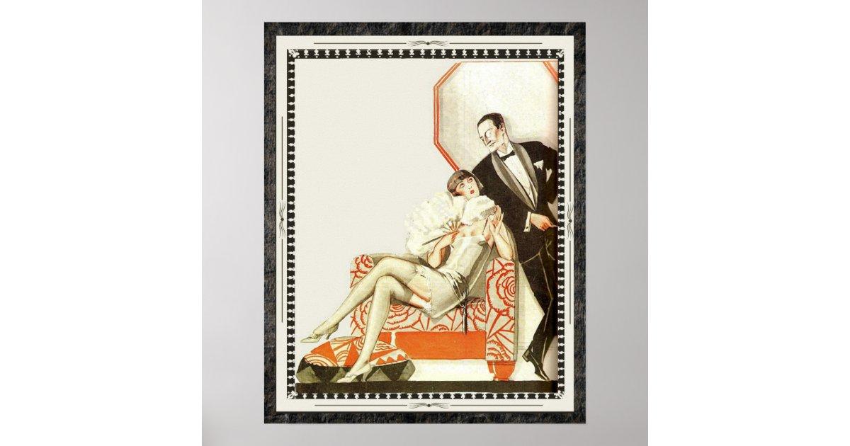 Decadent 1920s Art Deco Avant Garde Couple Poster Zazzle