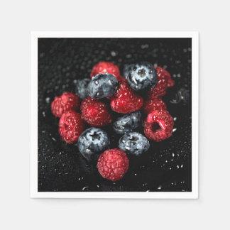 Decadent berries party napkins, dark forest food paper napkin
