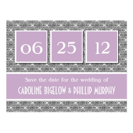 Decadent Damask Save the Date Postcard