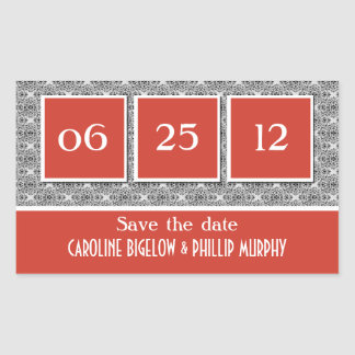 Decadent Damask Save the Date Stickers