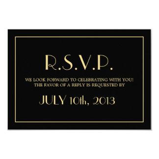 Decadent Deco elegant chic black wedding response 9 Cm X 13 Cm Invitation Card