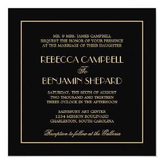 Decadent Deco elegant chic formal black wedding 13 Cm X 13 Cm Square Invitation Card