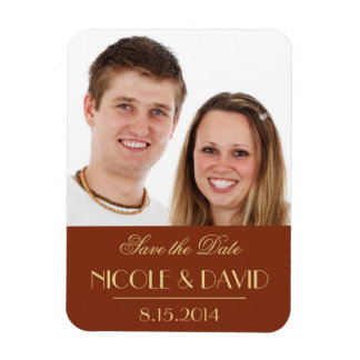 Decadent Deco elegant red wedding save the date Magnets