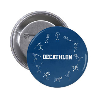 Decathlon Stickman Track and Field Athletics Blue 6 Cm Round Badge