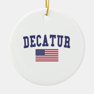 Decatur IL US Flag Ceramic Ornament