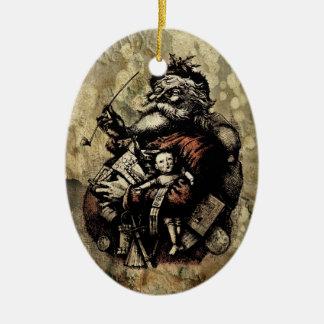 Decayed Victorian Santa Ceramic Ornament
