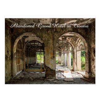 Decaying Abandoned Grand Hotel in Croatia Postcard