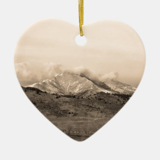 December 16th Twin Peak Sunrise Sepia View Ceramic Heart Decoration