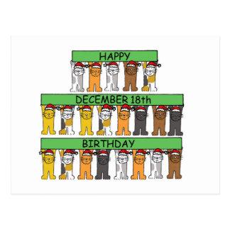 December 18th Birthday Cats Postcard
