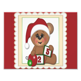 December 25th, Teddy Bear in Santa Hat Photo Print