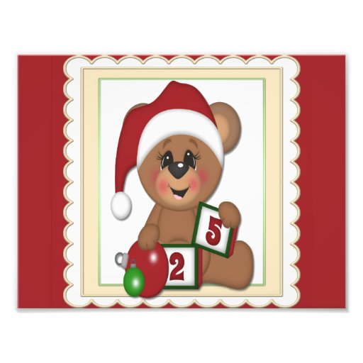 December 25th, Teddy Bear in Santa Hat Photograph