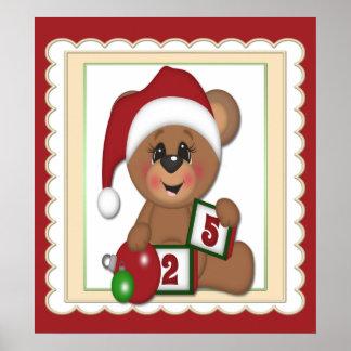 December 25th, Teddy Bear in Santa Hat Poster