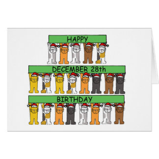 December 28th Birthdays celebrated by cats. Card