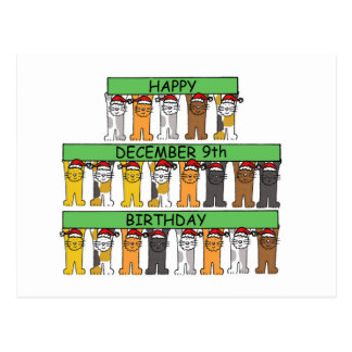 December 9th Birthdays celebrated by cats. Postcard