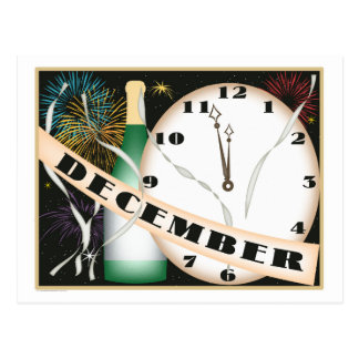 December Art Deco Champagne and Fireworks Postcard
