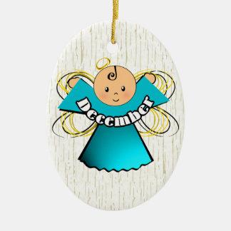 December Birthday Angel Ceramic Ornament