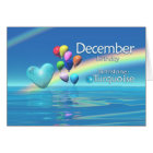 December Birthday Turquoise Heart Card