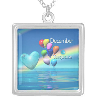 December Birthday Turquoise Heart Silver Plated Necklace