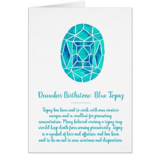 December Birthstone Blue Topaz Birthday Watercolor Card