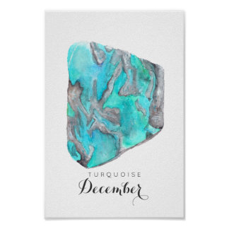 December Birthstone Turquoise Watercolor | Poster