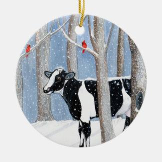 December Cow Ceramic Ornament