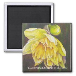 """December Flower: Narcissus"" by Janae Lehto Square Magnet"