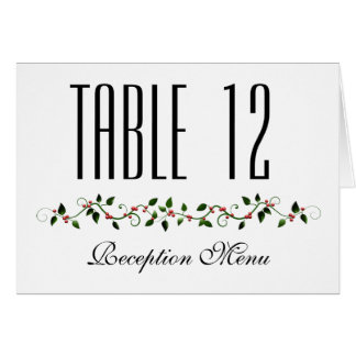December Holiday Wedding Menu and Table Number Card