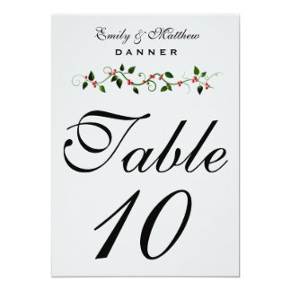 December Holiday Wedding Table Number 5X7 Card