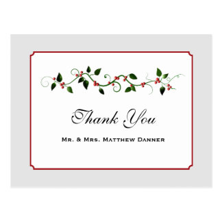 December Holiday Wedding Thank You Postcard