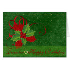 December Holly Language of Flowers Birthday Card