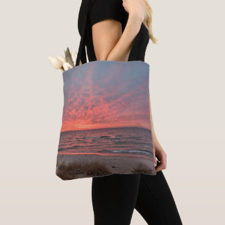 December Sunset on Lake Michigan Tote Bag