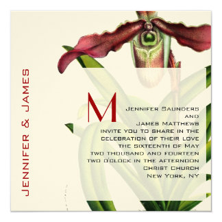 December Wedding Invitation Orchid Red Cream