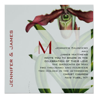 December Wedding Invitation Orchid Red Siver
