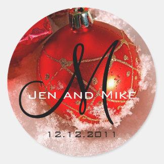 December Wedding Monogram Invitation Sticker