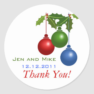 December Wedding Thank You Stickers Holly Ornament