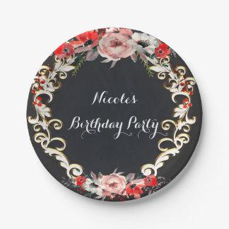 December Winter Wedding Holly Berry Floral Elegant Paper Plate
