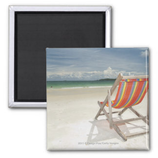 Deck Chair On The White Sand Of Samui Beach Magnet