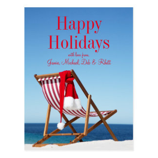 Deck Chair with Santa hat Postcard