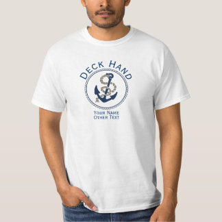 Deck Hand Anchor And Rope Personalized T-Shirt