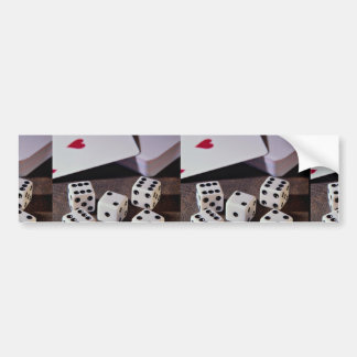 Deck of cards and dice bumper stickers