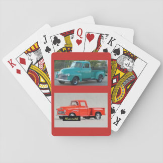 Deck of playing cards with two pickup trucks