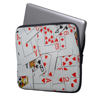 Deck Of Scattered Playing Cards Pattern, Laptop Sleeve