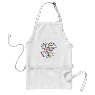 deck the halls holiday lights Christmas Standard Apron