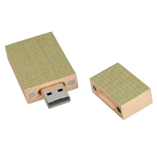 Deck the Halls Holiday Pattern Wood USB 2.0 Flash Drive