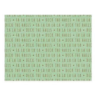 Deck the Halls Holiday Pattern Postcard